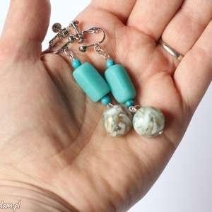 klipsy niebieskie z masą perłową, klipsy, etno, boho, kolorowe, muszle, prezent