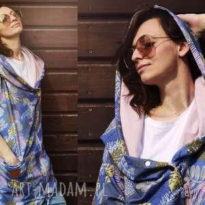 długa bluza oversize w liscie i kwiaty ogromny kaptur, kolorowa m lato