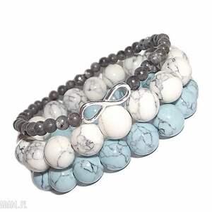bransoletki komplet 3 bransoletek, infinity, nieskończoność, srebro, labradoryt