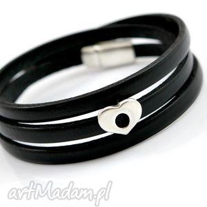 hand-made bransoletka skórzana magnetoos triple black&heart