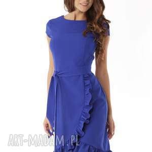 elegancka sukienka falbaną chabrowa, sukienka, polski producent
