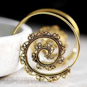 goa pozłacane kolczyki, orientalne, prezent, spirale