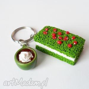 leśny mech - brelok, fimo, ciastko, zielony, kawa