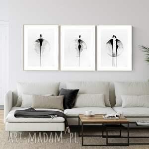 zestaw 3 obrazów 50x70 cm wykonanych ręcznie, abstrakcja, 2967395, obraz ręcznie