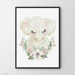 pokoik dziecka plakat obraz słonik b1 - 70x100 cm, dziecka, pokój