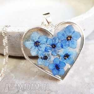 925 ♥ prawdziwe kwiaty niezapominajki srebrny łańcuszek, niezapominajka, łańcuszek