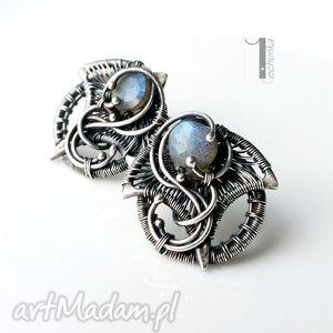 Irideae - srebrne kolczyki z labradorytem, srebro, labradoryt, eleganckie, ażurowe