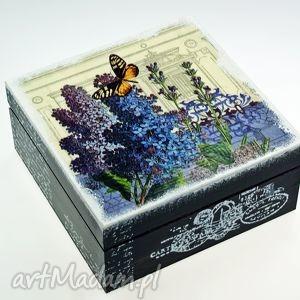 shiraja herbaciarka szkatułka -wiosenne bzy, szkatułka, pudełko, kwiaty, na