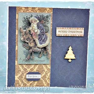przestrzenna kartka - mikołaj na osiołku - kartka, merry, christmas, życzenia