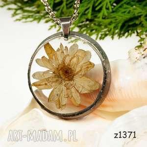 Prezent Naszyjnik z suszonymi kwiatami, Herbarium Jewelry, kwiaty w żywicy z1371