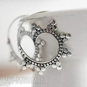 sahra posrebrzane kolczyki spirale - orient, spirale, sara, prezent, orientalne, srebro
