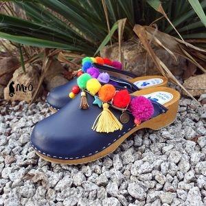 hand-made buty niepowtarzalne, tęczowe boho chodaki
