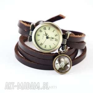 bransoletka, zegarek - magnolia brązowy, skórzany, wąski pasek