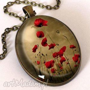 maki - owalny medalion z łańcuszkiem - naszyjnik, kwiaty, polne