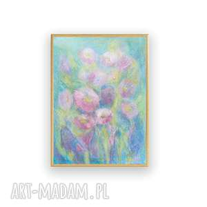 oprawiony rysunek łąki, pastelowy z kwiatami, obrazek w ramce
