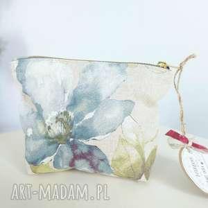 handmade kosmetyczki kosmetyczka organizer saszetka len kwiaty vintage