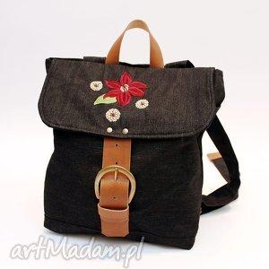 plecak, kwiat, jeans, skóra, haft, flisanna plecaki torebki, święta prezent