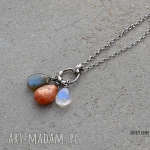 Kamień księżycowy, kamień słoneczny i labradoryt - wisiorek, srebro,