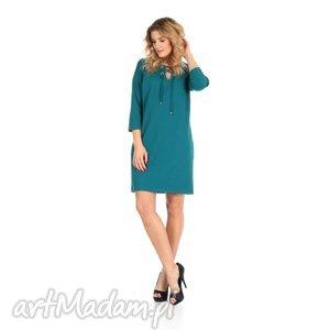 46-sukienka sznurowany dekolt,szmaragd,rękaw 3/4, lalu, sukienka, dzianina, bawełna