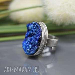 Agat tytanowy - pierścionek Jamila , pierścionek, regulowany, srebrny, agat-tytanowy