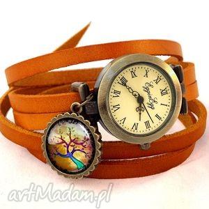 kolorowe drzewko - zegarek bransoletka na skórzanym pasku - symboliczne