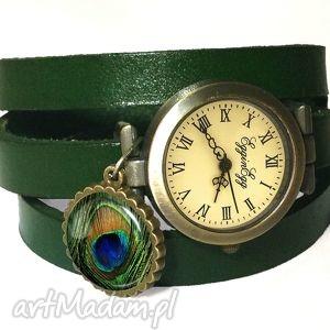 pawie oko - zegarek bransoletka na skórzanym pasku egginegg, pióra