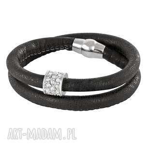 black eco leather with zircons bead , rzemień, cyrkonie biżuteria