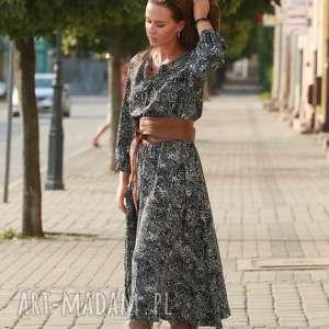 black white sukienka, boho maxi jesienna etno