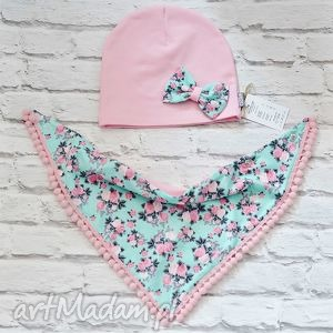 cienki komplet dla dziewczynki czapka i komin trójkąt - czapka, komin, szal