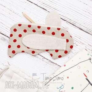 handmade dla dziecka piórnik dla dziecka króliczek (czerwone grochy)
