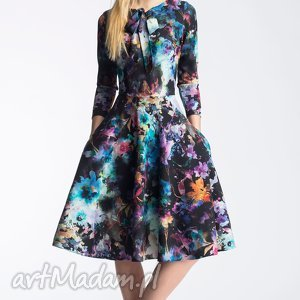 Sukienka CHLOE Midi Azalia, midi, rozkloszowana, kieszenie, wiązanie, kokardka, koło