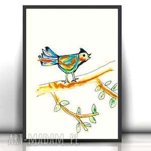 plakat z ptaszkiem,obrazek do dzieciecego pokoju,plakat pokoju dziewczynki,ptaszek