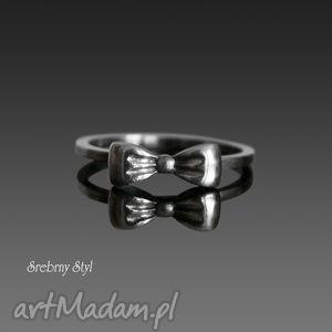 NA KOKARDKĘ - ,srebro,kokardka,oksydowany,minimalistyczny,