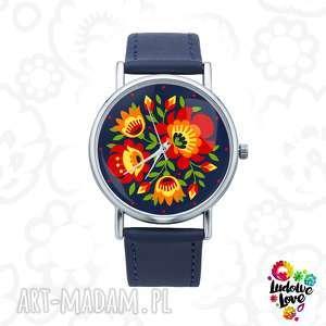 zegarek z grafiką kwiaty, polskie, wzory, ludowe, modny, folk, folklor