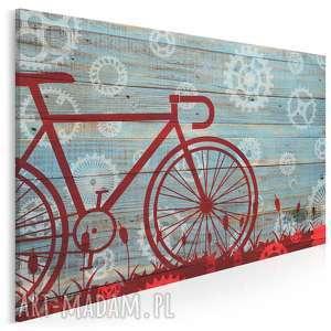 vaku dsgn obraz na płótnie - czerwony rower 120x80 cm 46601, rower, deski