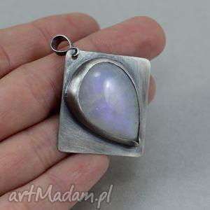 kamień księżycowy i srebro - wisior oksyda, kamień, księżycowy, srebro, satynowe