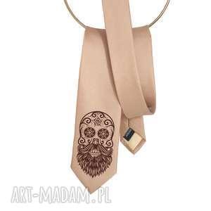 krawat z nadrukiem - czacha brodą, krawat, czachy, czaszka, nadruk, prezent, śledź