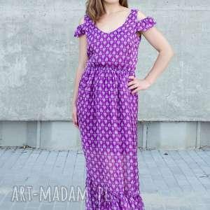 sukienki jedwabna sukienka maksi w drukowane listki, maksi, jedwab, wzorek, maxi