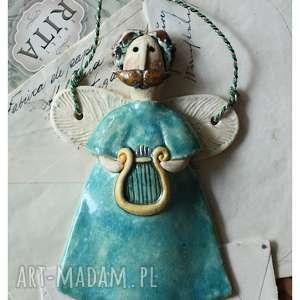 wylegarnia pomyslow aniołek z lirą, ceramika, anioł, lira
