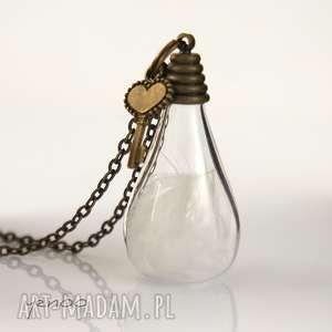 naszyjniki naszyjnik - białe piórko, naszyjnik, wisiorek, szklany, piórko