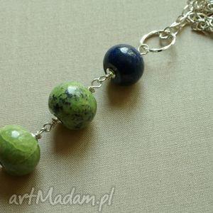 Naszyjnik z chryzotynu i lapis lazuli, tilia, lapis, długi, efektowny