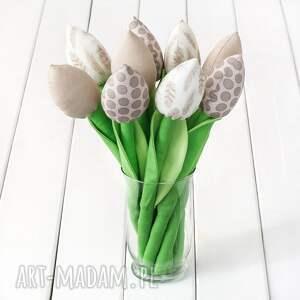 dekoracje tulipany beżowy bawełniany bukiet, tulipany, kwiaty, dzień babci