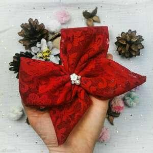 oryginalny prezent, liliraj koronkowa czerwień, kokarda, koronka, mała