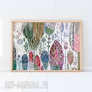 plakaty plakat 30x40 cm - kwiaty pastelowe, plakat, wydruk, kwiaty, różowy, łąka