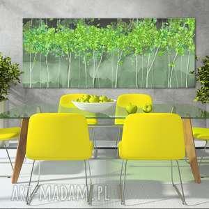 obraz drukowany na płótnie z drzewami w zieleni 150x60cm, obraz, grafika, las