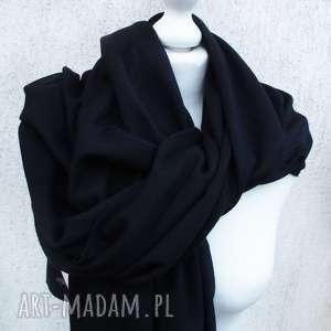 wielki czarny szal z dżerseju, duży szalik, klasyczny, dżersejowy