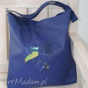 handmade na ramię torba, torebka, niebieski skaj, haft