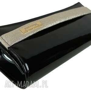 Kopertówka MANZANA czarny błysk! złoty pasek , kopertówka, koperta, manzana, błysk