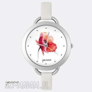 zegarek, bransoletka - mak - zegarek, bransoletka, kwiat, mak, skórzany, prezent