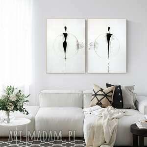 plakaty zestaw 2 grafik 50x70 cm wykonanych ręcznie, grafika czarno-biała, abstrakcja